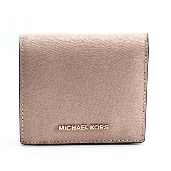 Michael Kors NEW Beige Oyster Saffiano Jet Set Carryall Bifold Wallet