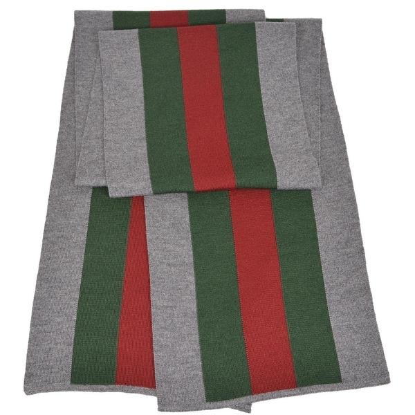 Gucci 206086 Wool Silk Grey Red Green Web Stripe Scarf Muffler