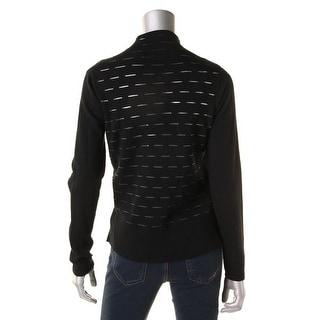 Elie Tahari Womens Calista Cardigan Sweater Extra Fine Merino Wool Mesh Inset