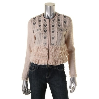 Rebecca Taylor Womens Tweed Embroidered Cropped Jacket - 6