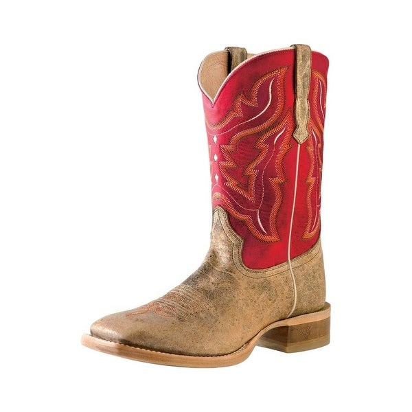 Outlaw Western Boots Mens Square Toe Hand Pegged Tan Road Red