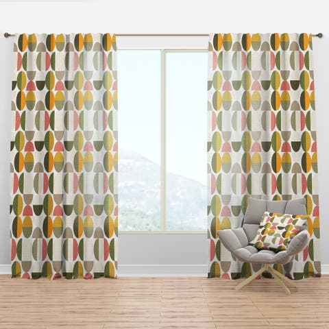 Designart 'Vintage Circular Design I' Mid-Century Modern Curtain Panel