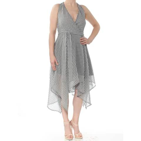 4f15b1f8ef BAR III Womens Black Check Sleeveless V Neck Midi Hi-Lo Dress Size  XS