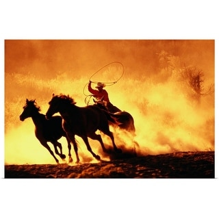 """""""Cowboy rounding up horses in bend"""" Poster Print"""