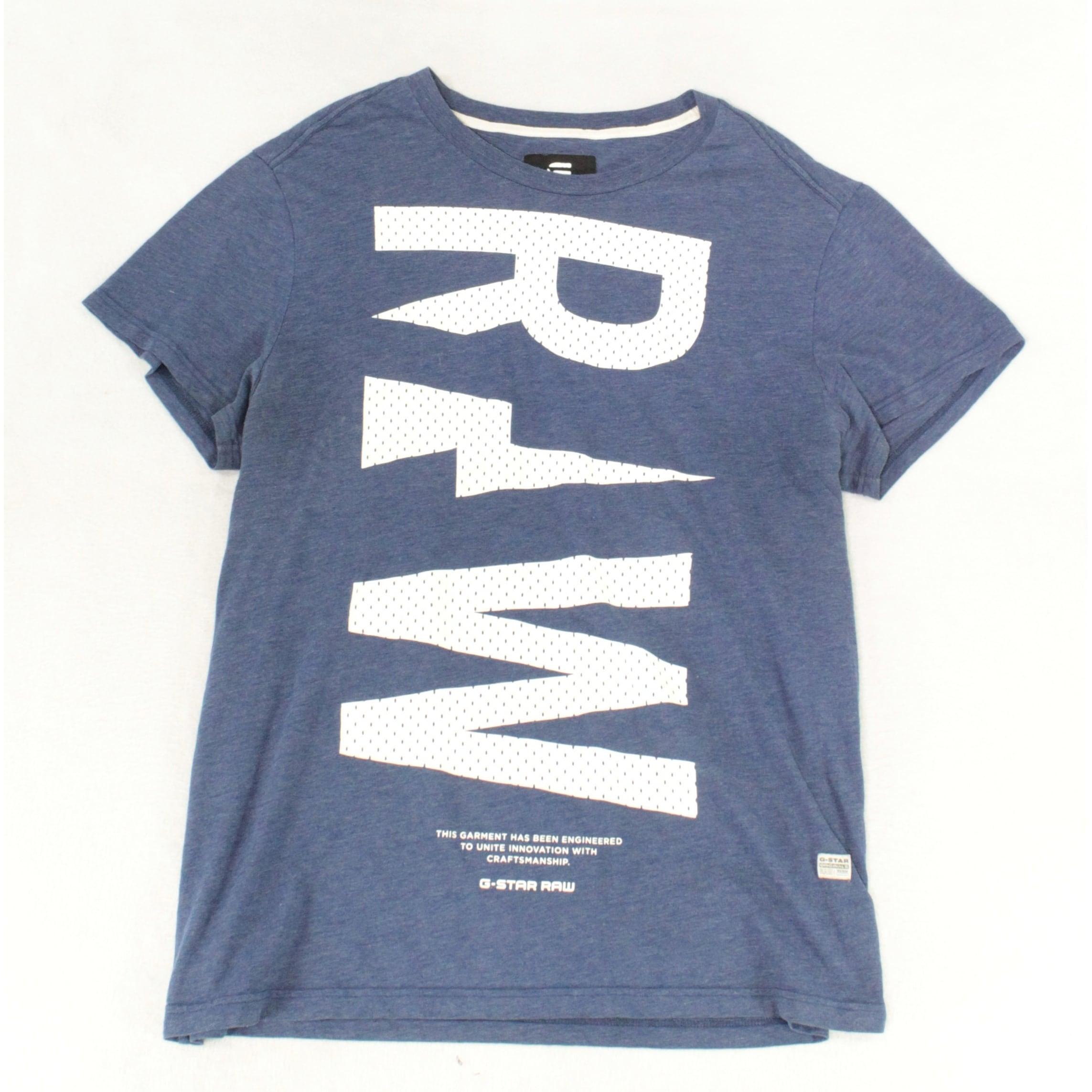 G Star Raw Mens T Shirt Blue Size 2XL Logo Crew Regular Fit Graphic Tee