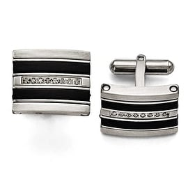 Chisel Stainless Steel Polished Black Rubber 0.15ct. tw. Diamond Cuff Links