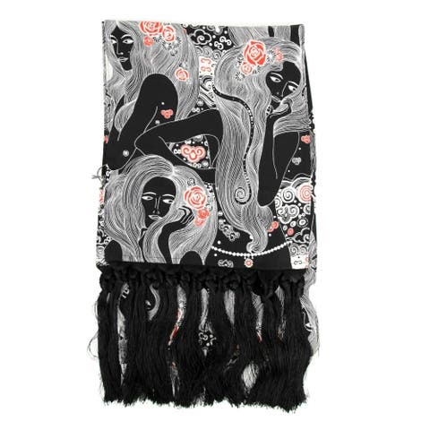 Alexander McQueen Women's Black / Ivory Crespo Silk Scarf with Eve Print 529896 1078 - One Size