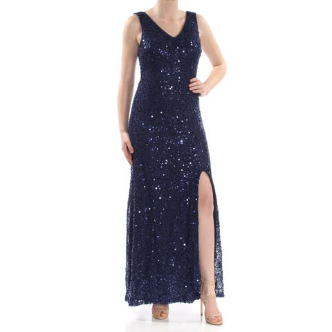 67ace5c2794 NIGHTWAY Womens Navy Sequined Lace Slit Gown Sleeveless V Neck Maxi Formal  Dress Size  10