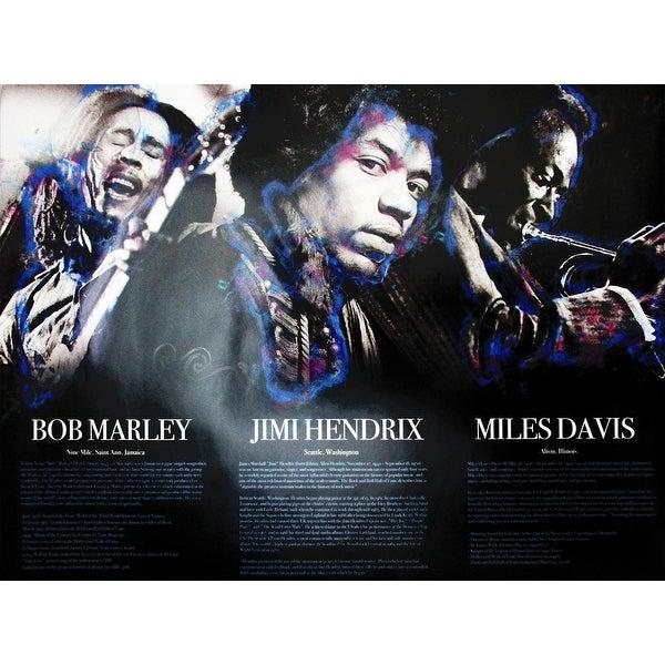 Bob Marley Jimi Hendrix Miles Davis Poster w/ Bio (18x24) - Multi-Color