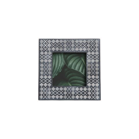 Foreside Home & Garden Black 5 x 5 inch Tribal Pattern Decorative Wood Picture Frame