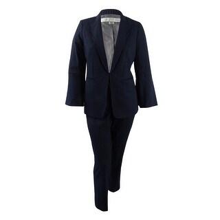 Tahari ASL Women's Plus Size Pinstriped Pantsuit - Navy/Ivory