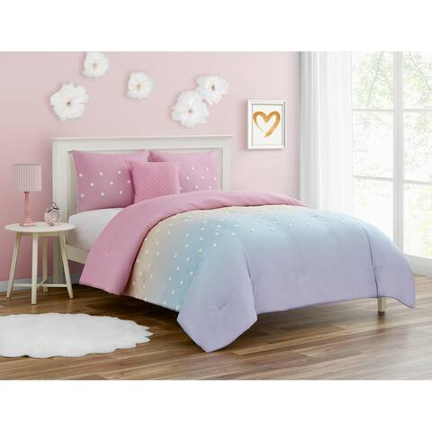 Ombre Pink and Purple Dot Comforter Set