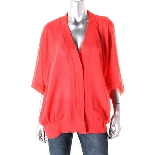 Nanette Lepore Womens Mesh Elbow Sleeves Button-Down Top - 2