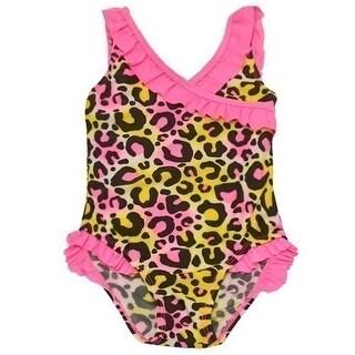 2B Real Baby Girls Fuchsia Ruffle Leopard Pattern One Piece Swimsuit