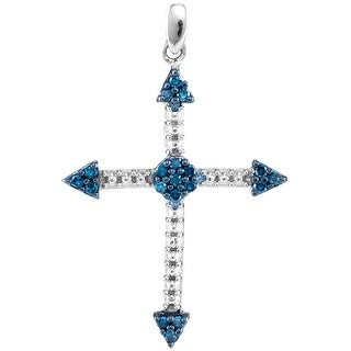 Arrow Cross Pendant 10k White Gold With Blue and White Diamonds 1/6 Ctw By MidwestJewellery