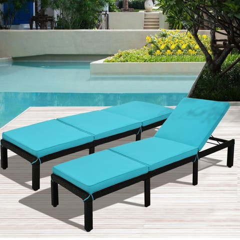 AOOLIVE Patio Rattan Wicker Chaise Lounge Chair Sunbed, Blue Cushion