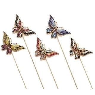Set of 18 Assorted Glass Crystal Butterfly Mini Garden Stakes with Display Box 10
