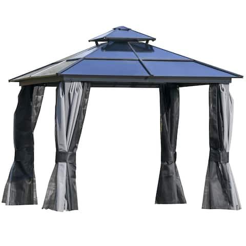 Outsunny Hardtop Patio Gazebo 2-Tier Roof Steel Frame & Net Sidewalls