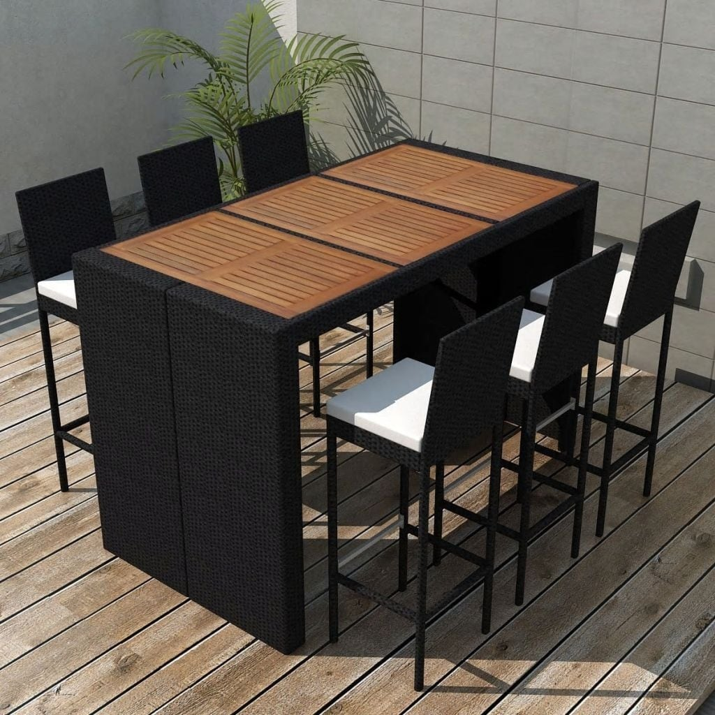 vidaXL 3 Piece Outdoor Dining Set with Cushions Poly rattan Black