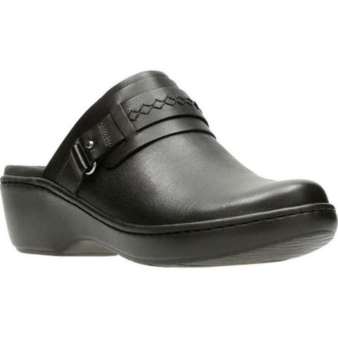 Clarks Women's Delana Amber Clog Black Full Grain Leather