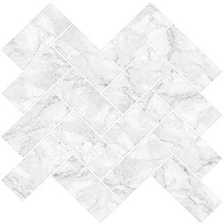 "Brewster NH2358  Herringbone Carrara 10"" x 10"" Square Chevron Self-Adhesive Resin Peel and Stick Backsplash Tiles - White"