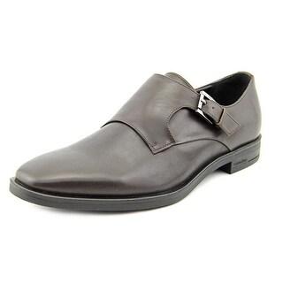 Calvin Klein Craff Men Square Toe Leather Brown Loafer