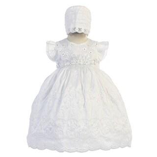 Angels Garment Girls White Scalloped Edge Bonnet Christening Dress 6M-3