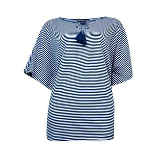 American Living Women's Striped Short-Sleeve Top (Blue Ridge/White, M) - m
