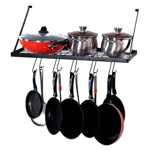 Wall Mount Pot Rack Kitchen Cookware Hanging Organizer with 15 Hooks