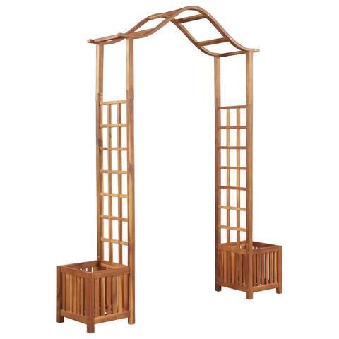 """vidaXL Solid Acacia Wood Garden Arch with Planter 70.9""""x15.7""""x85.8"""" Garden"""