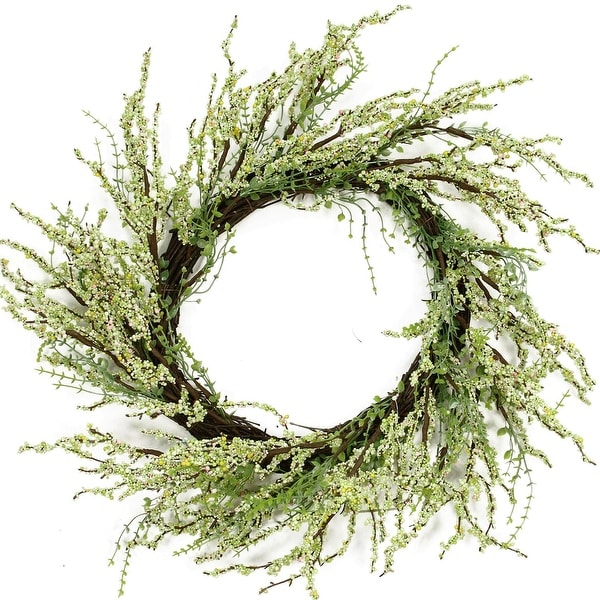 "12"" Green and Brown Decorative Berry Artificial Spring Twig Wreath - Unlit"