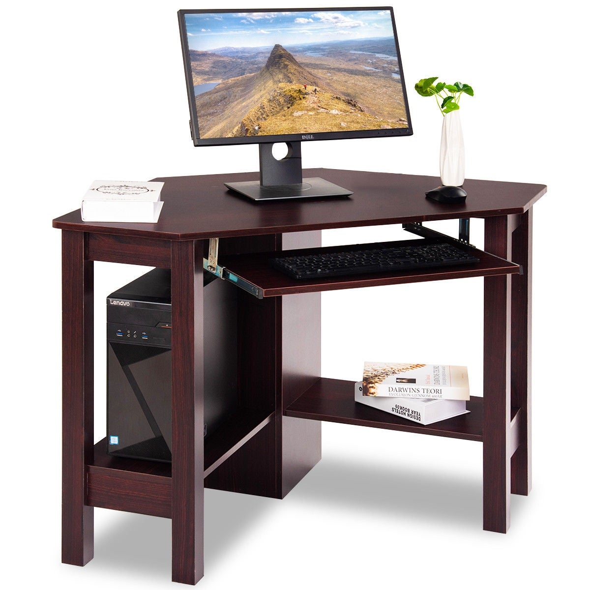 Costway Wooden Corner Desk With Drawer Computer PC Table Study Office