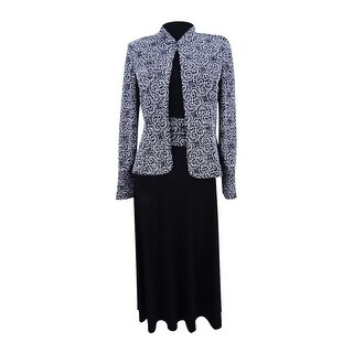 Jessica Howard Women's Sparkle-Printed Dress & Jacket - Black/Ivory