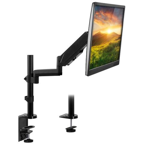 "Mount-It! Single Monitor Arm Desk Mount, Height Adjustable Full Motion VESA Riser Stand for Computer Screens 19""- 32"""