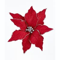 Pack of 12 Red and Silver Glittered Poinsettia Clip-On Floral Christmas Ornaments