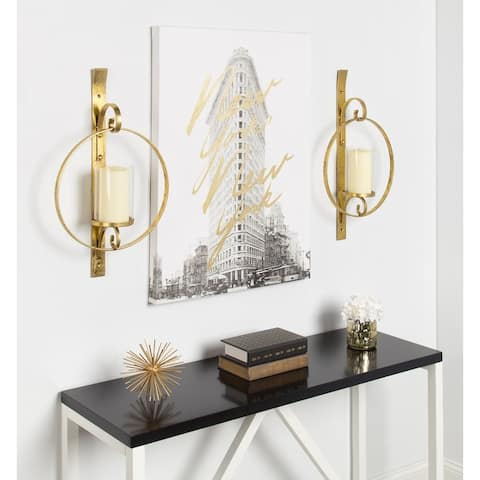Kate and Laurel Doria Round Glass and Metal Wall Sconce - 12x22