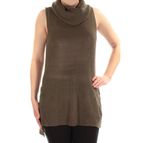 Womens Green Sleeveless Cowl Neck Casual Sweater Size M