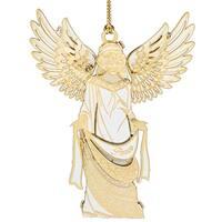 """3.25"""" 24K Gold Trimmed White Angel Christmas Keepsake Ornament"""