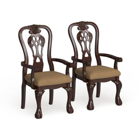 Furniture of America Harper Cherry Arm Chair (Set of 2)