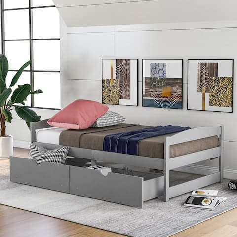 AOOLIVE Pine Wood Twin Size Platform Bed with Two Drawers, Grey