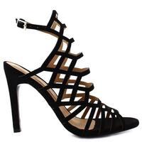 Ceresnia Adult Black Sling Back Ankle Strap High Heeled Sandals