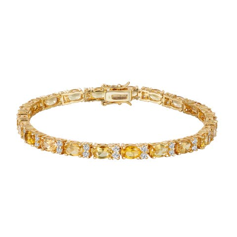 Oval-Cut Yellow Beryl with White Zircon Tennis Bracelet, Sterling Silver