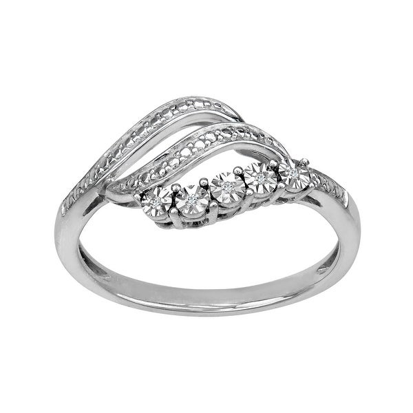 Swirl Ring with Diamonds in Sterling Silver