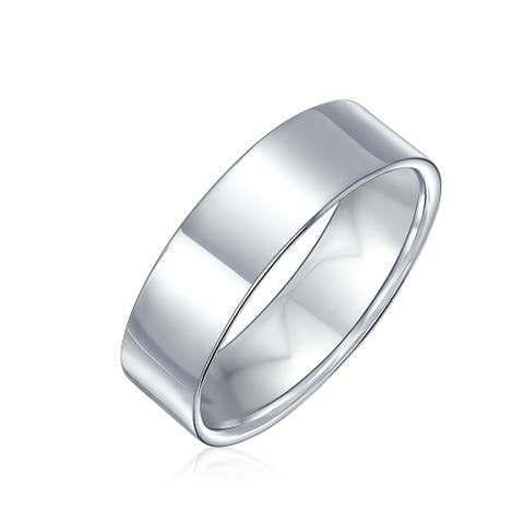 Plain Simple 925 Sterling Silver Flat Couples Wedding Band Ring 6MM