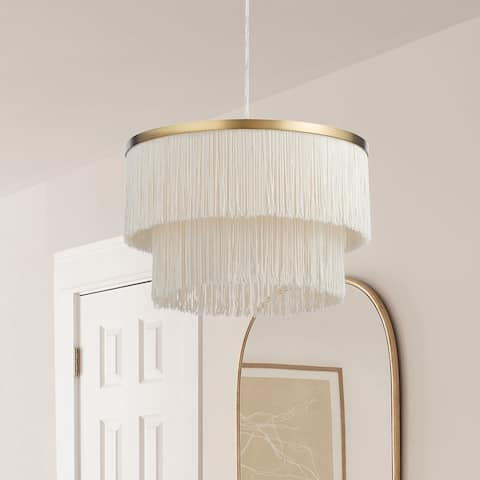 """Caterina River of Goods Metal Hanging Pendant Light With Fringe Shade - 14"""" x 14"""" x 13.5/61.5"""""""