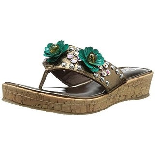 Grazie Womens Fierce Thong Sandals Leather Embellished