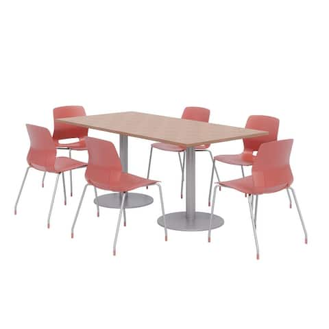 Olio Designs 6' x 3' Dining Table Set, 6 Lola Chairs, River Cherry