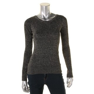 Energie Womens Juniors Metallic Ribbed Knit Pullover Sweater