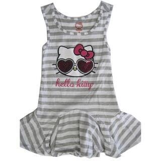 e2b6fbb179 Hello Kitty Little Girls Grey White Striped Applique Gown 4-6X