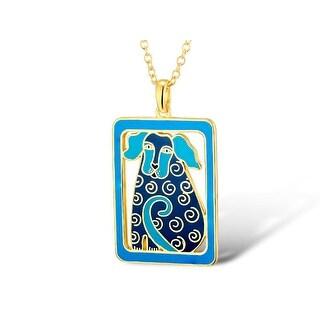 Laurel Burch Dog Tales Blue Cloisonne Pendant w/ Necklace